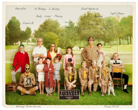 The cast of Moonrise Kingdom. Courtesy of Focus Features.
