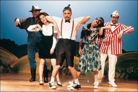 Fred Willard, Catherine O'Hara, Christopher Guest, Parker Posey and Eugene Levy star in Guest's Waiting for Guffman. Courtesy of Warner Home Video.