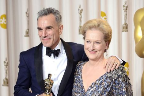 Daniel Day-Lewis and Meryl Streep strike a pose at the Oscar 2013 press room. Courtesy of Getty Images.