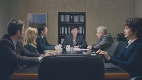 "Peter Hermann, Kelly McAndrew, Eugene Brell, Patrick Wang, Brian Murray and Marsha Waterbury star in Wang's ""In the Family."" Courtesy of Patrick Wang."
