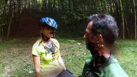 "Dave Coyne and Wendy Donigian star in Eduardo Sánchez and Gregg Hale's ""A Ride in the Park,"" a segment in Brad Miska's horror anthology, ""V/H/S/2."" Courtesy of Magnet Releasing."