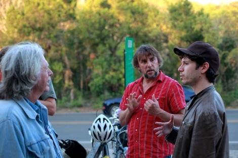 "James Benning, Richard Linklater and Gabe Klinger during production of Klinger's ""Double Play."" Courtesy of Gabe Klinger."