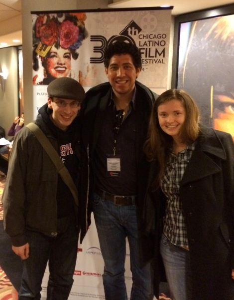 "Matt Fagerholm, Robert D. Lemon and April Parker after a screening of ""Transfusión"" at the Chicago Latino Film Festival. Courtesy of Robert D. Lemon."