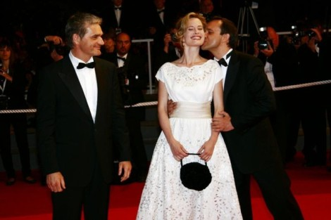 "Konstantin Lavronenko, Maria Bonnevie and Andrey Zvyagintsev at the red carpet premiere of ""The Banishment."" Courtesy of Cannes Film Festival."