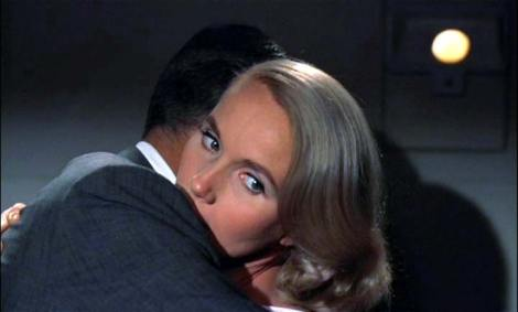 "Cary Grant and Eva Marie Saint in Alfred Hitchcock's ""North by Northwest."" Courtesy of MGM."