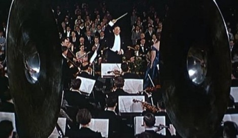 "Bernard Herrmann in Alfred Hitchcock's ""The Man Who Knew Too Much."" Courtesy of Universal Pictures."