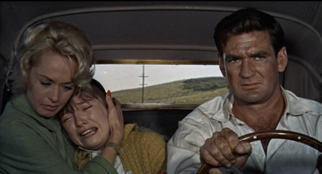 "Tippi Hedren, Veronica Cartwright and Rod Taylor in Alfred Hitchcock's ""The Birds."" Courtesy of Blu-ray.com."