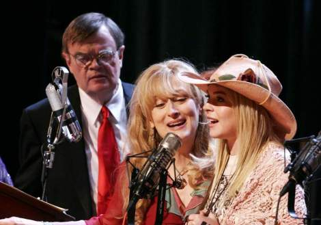 "Garrison Keillor, Meryl Streep and Lindsay Lohan star in Robert Altman's ""A Prairie Home Companion."" Courtesy of Picturehouse."