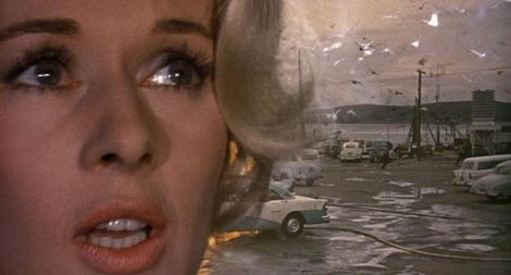 "Tippi Hedren in Alfred Hitchcock's ""The Birds."" Courtesy of Universal Pictures."