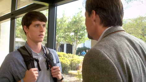 "Shane Harper and Kevin Sorbo in Harold Cronk's ""God's Not Dead."" Courtesy of Pure Flix Productions."