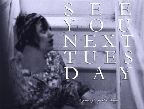 "An early poster for ""See You Next Tuesday,"" featuring Eleanore's original photograph for Mona, brandishing a flyswatter. Courtesy of Drew Tobia."