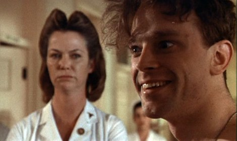 "Louise Fletcher and Brad Dourif in Milos Forman's ""One Flew Over the Cuckoo's Nest."" Courtesy of United Artists."