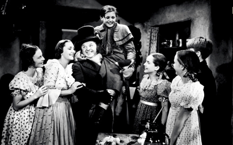 "Bunny Beatty, Kathleen Lockhart, Gene Lockhart, Terry Kilburn, Muriel Kearney, John O'Day and June Lockhart in Edwin L. Marin's ""A Christmas Carol."" Courtesy of Turner Classic Movies."