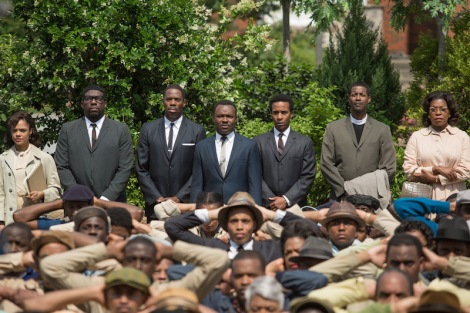 "Tessa Thompson, Omar Dorsey, Colman Domingo, David Oyelowo, André Holland, Corey Reynolds and Lorraine Toussaint in Ava DuVernay's ""Selma."" Courtesy of Paramount Pictures."