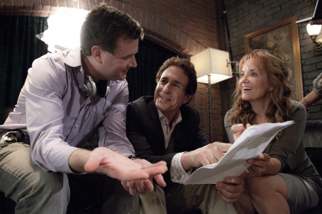 "Jim Hemphill, John Shea and Lea Thompson on the set of ""The Trouble with the Truth."" Courtesy of Evelyn Sen."