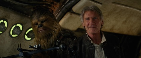 "Peter Mayhew and Harrison Ford in J.J. Abrams' ""Star Wars Episode VII: The Force Awakens."" Courtesy of Disney."