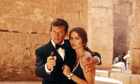 "Roger Moore and Barbara Bach in Lewis Gilbert's ""The Spy Who Loved Me."" Courtesy of MGM."