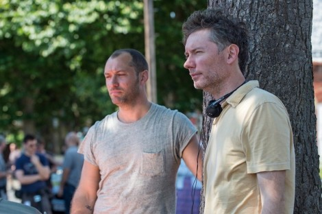 "Jude Law and Kevin Macdonald on the set of ""Black Sea."""