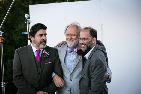 "Alfred Molina, John Lithgow and Ira Sachs on the set of ""Love Is Strange."""