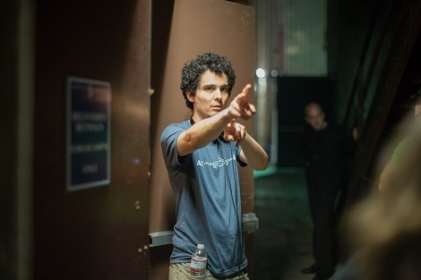 "Damien Chazelle on the set of ""Whiplash."""