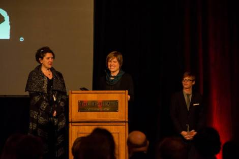 """Radical Grace"" producer Nicole Bernardi-Reis and director Rebecca Parrish receive the Chicago Award at the Chicago International Film Festival. Courtesy of Timothy M. Schmidt."