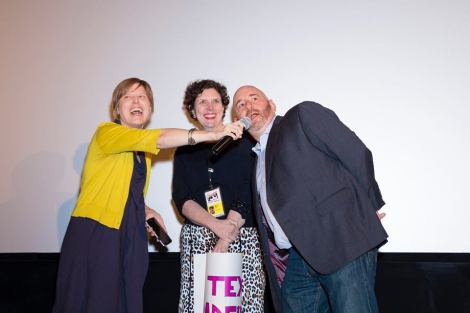 """Radical Grace"" director Rebecca Parrish with producers Nicole Bernardi-Reis and Danny Alpert at the Chicago International Film Festival. Courtesy of Timothy M. Schmidt."