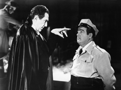 "Bela Lugosi and Lou Costello in Charles Barton's ""Abbott and Costello Meet Frankenstein."" Courtesy of Universal Pictures."