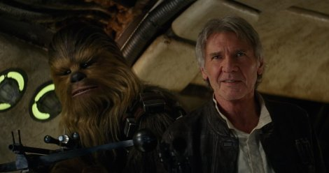 "Peter Mayhew and Harrison Ford in J.J. Abrams's ""Star Wars Episode VII: The Force Awakens."""