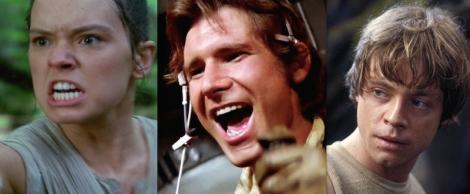 Daisy Ridley, Harrison Ford, Mark Hamill.