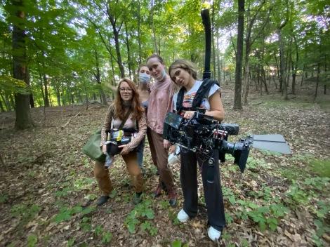 Production Designer Kit Sheridan, Producer Rebecca Morandi, Jaclyn & DP Melisse Riahi on set of BEFORE THE WORLD SET ON FIRE